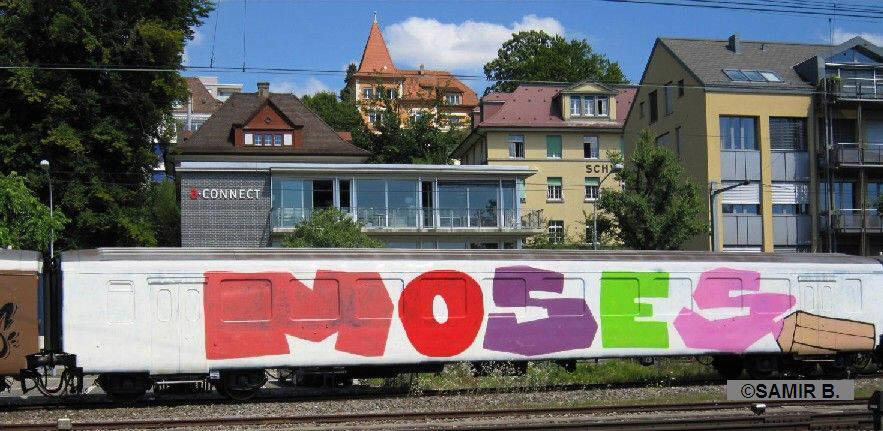 MOSES GRAFFITI whole car graffiti zurich switzerland august 2010. full car train graffiti. SBB full car graffiti z�rich