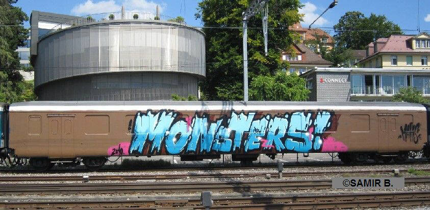 MONSTERS CREW GRAFFITI whole car graffiti zurich switzerland august 2010. full car train graffiti . SBB full car graffiti z�rich