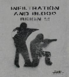 infiltrtion and blood rein. streetart stencil graffiti. schablonengraffiti zollikon schweiz